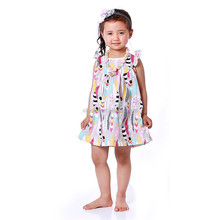 Summer Cheap Children Girls Feather Printed Dress