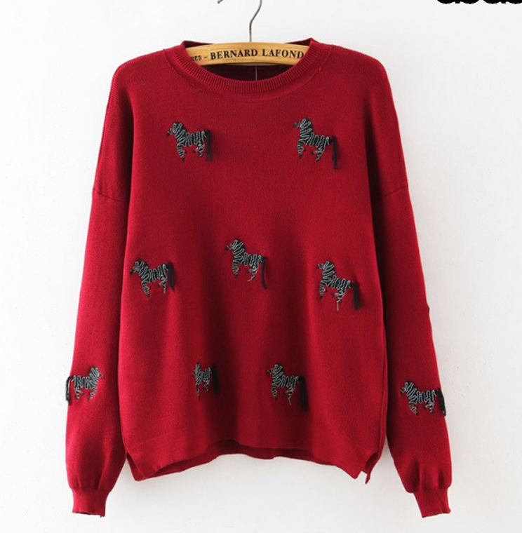 Z86363A autumn fashion cute embroidery LADies sweaters