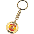 Spain Souvenir Gifts Zinc Alloy Round Two Sided Keychain Die Casting Gold Plating Rotating Customized Key Chains