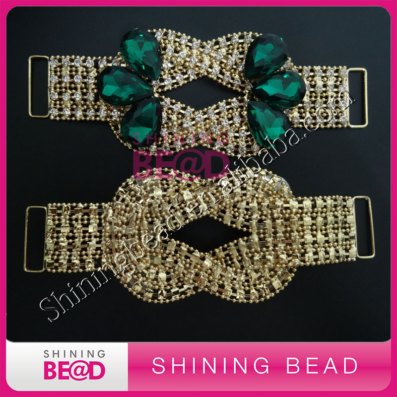 Fashion hot sale big stone bikini rhinestone connector