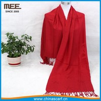 red color 100% real authentic bamboo fibre more colors ivory pashmina scarf