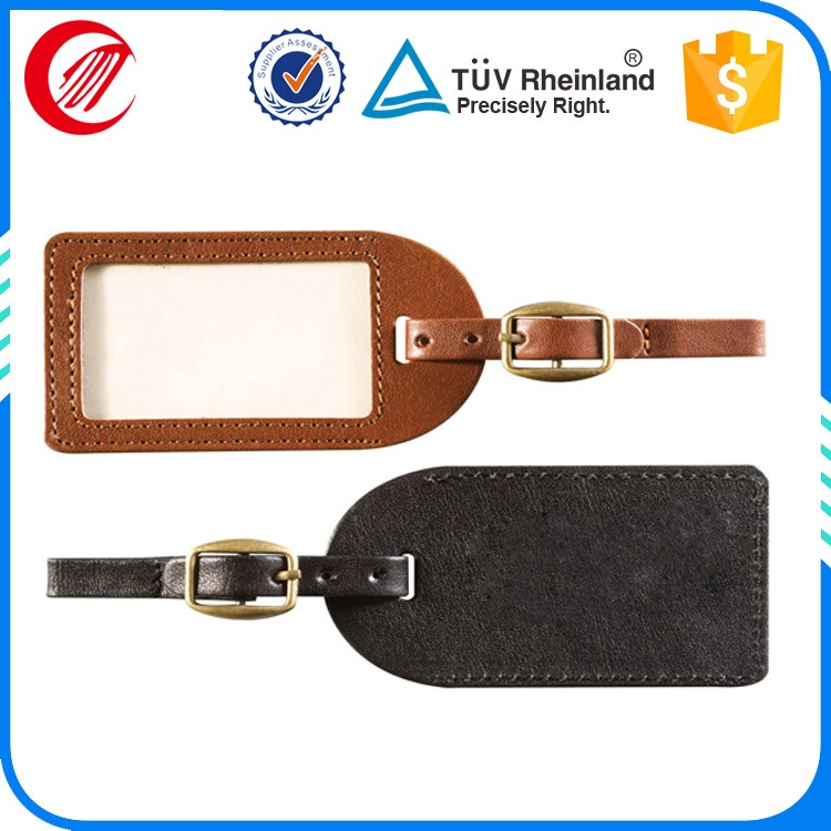 Tag maker pu leather tags with loop strap customised luggage tags