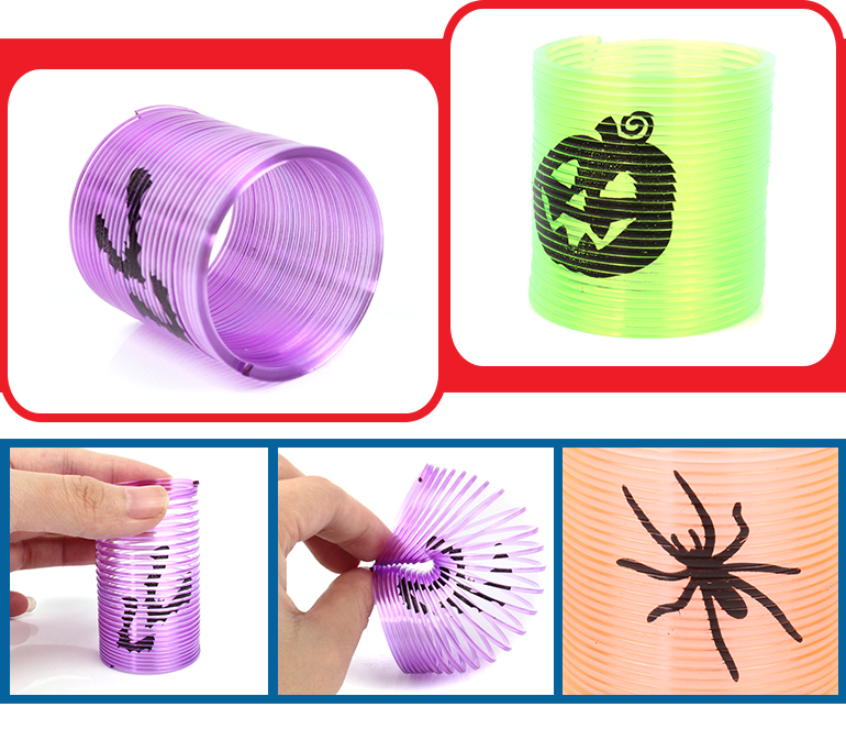 Most popular ring halloween totem transparent rainbow slinky toy for party