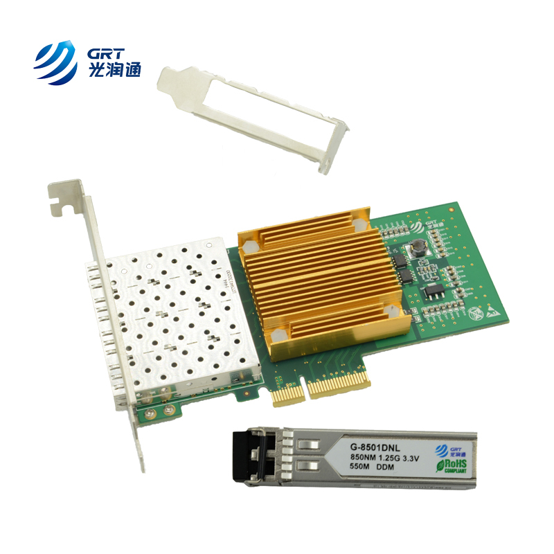 F904E Intel I350AM4 Lead-Free PCIe Gigabit 1.25Gb/s Quad-Port Fiber Optic Ethernet Network Adapter Card