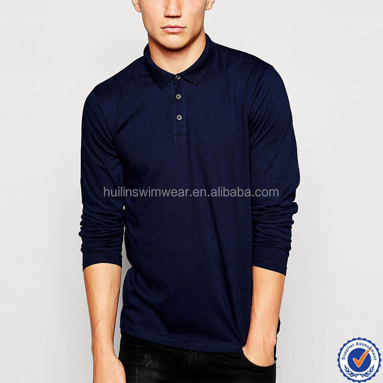 wholesale 100% cotton dry fit mens long sleeve polo shirt