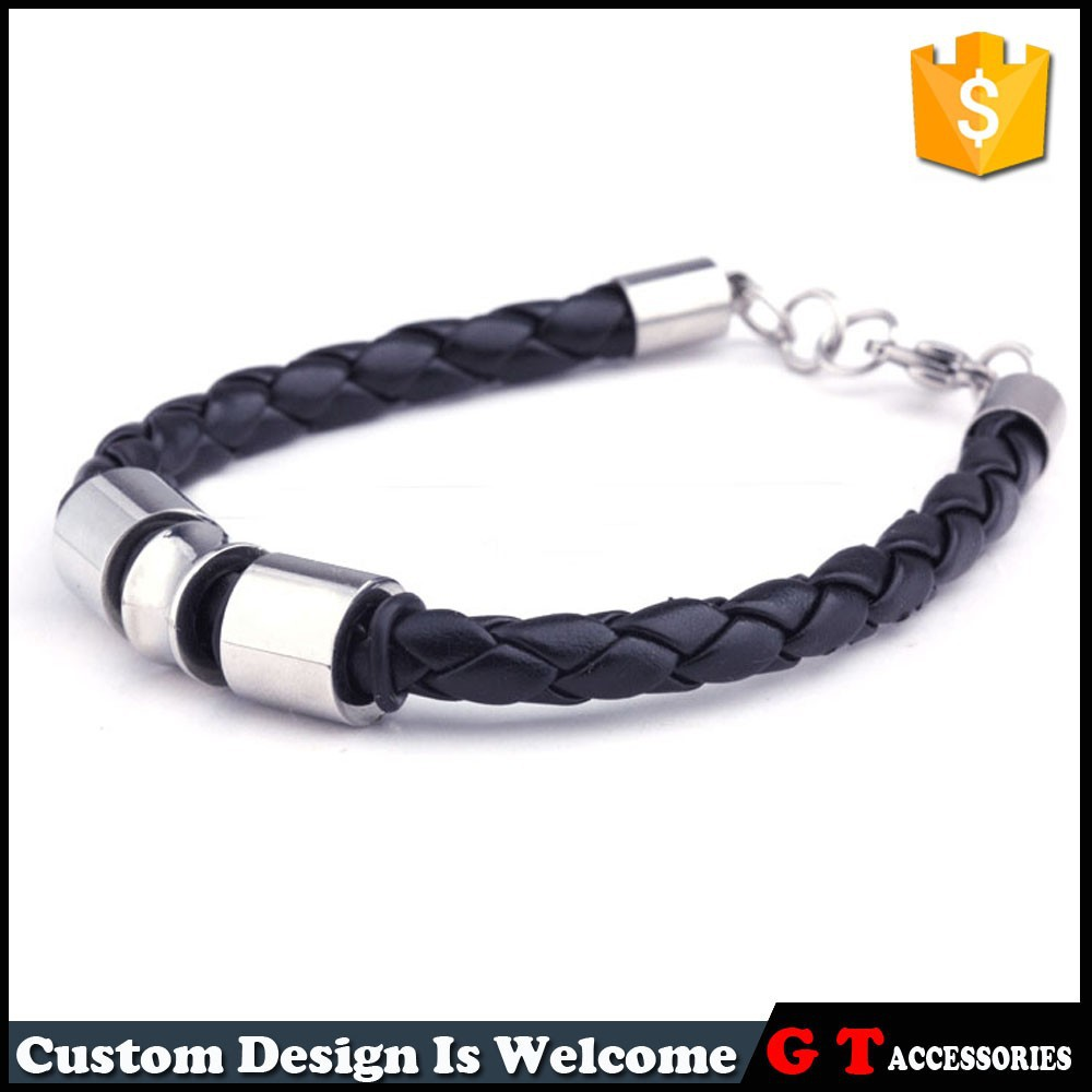 New Style High Quaity Women Men Titanium Steel Bracelet With Lobster Clasp, Chunky Snake Chain Leather Bracelet