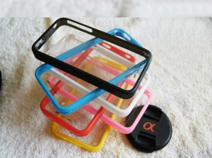 For iPhone 4S Silicon Rubber Case, PC+ABS bumper