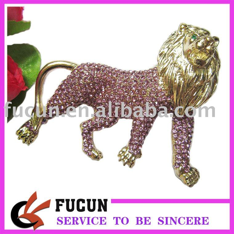 fashion lion design rhinestone brooch for costume anniversary gift