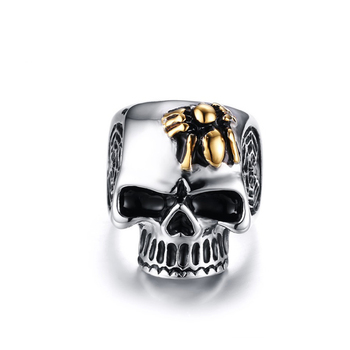 Fashion Punk Style Stainless Steel Spider Personalized Cool Skull Ring For Men Wholesale