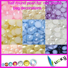 2014 new design flat back half round nail pearl for phone nail art decorations DIY