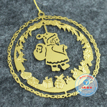 Direct factory custom handmade logo etched brass metal christmas gift ornaments