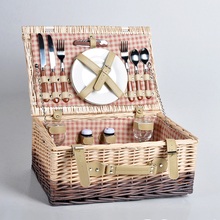 Willow wicker woven picnic basket rectangle fruit storage with lid