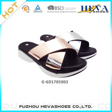 NEW Women's Faux Leather Criss-Cross Band Sandals Platform Wedge Slip On Slide Slippers China