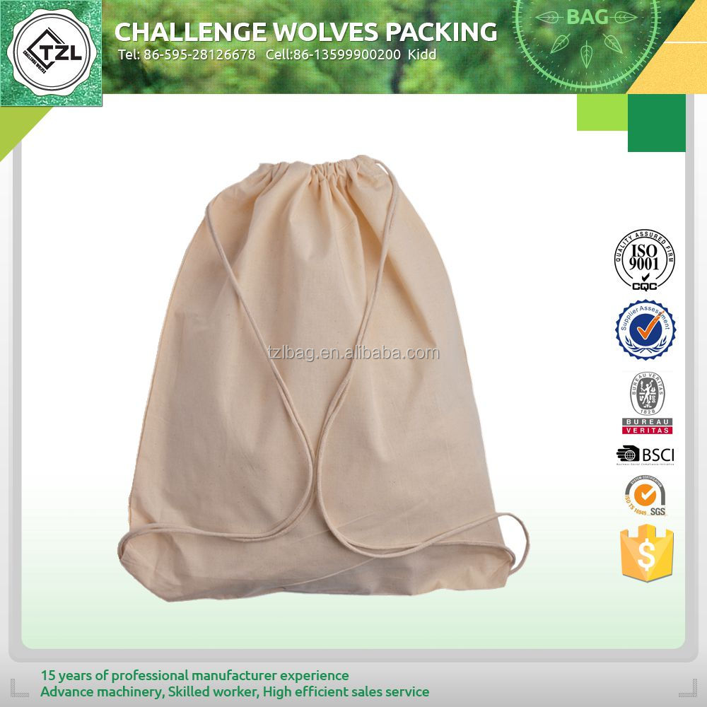 Reusable and foldable cotton drawstring bag