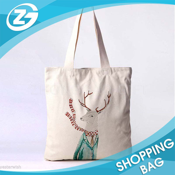 Standard Size Handled Printed Cotton Canvas Shopper Cotton Tote Shopping Bag