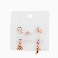 Fashion lady's multiple charm earring design, rose gold plating ring, bowknot, bag and high heel charm stud earring
