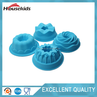 New design 4 flower shape combined silicone cake mould