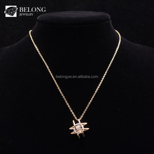 BLN0512 jewelry making supplies gold woren zirconia pendant necklace