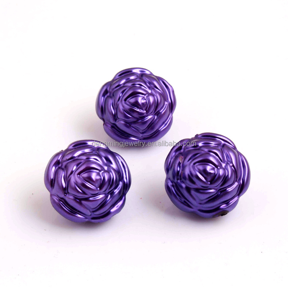Dark Purple Color Plastic Acrylic Rose Shaped Pearl Beads for Chunky Jewelry Wholesales 25MM