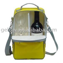 600D Polyester insulated wine cooler bags thermal wine cooler carrier bag shoulder bag with divider