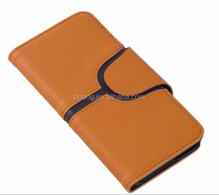 2017 New Design genuine leather 5.5 inch wallet flip cover mobile phone case