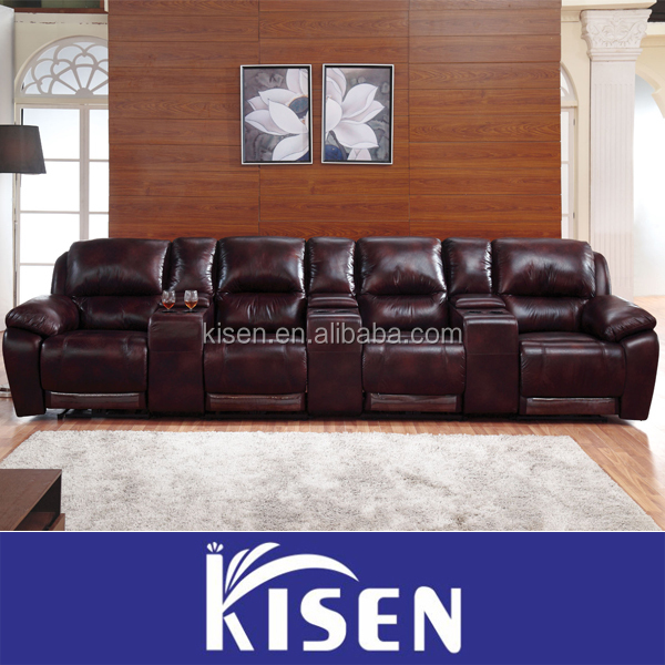 Comfortable double seats home recliner theater sofa with cup holders