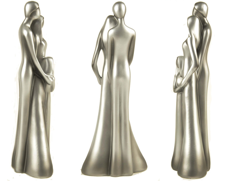 Modern style resin decorative family sculpture of three