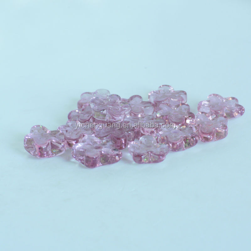 Fashion pink flower glass shape stone