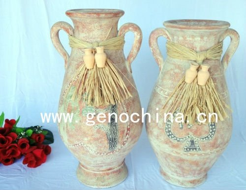 tall vase terracotta flower vase with straw and small clay pot