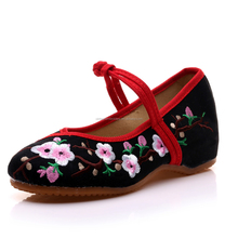 Women Casual Buckle Strap Old Beijing Shoes Round Toe Embroidered Ladies Cotton Flats Oxford Shoes