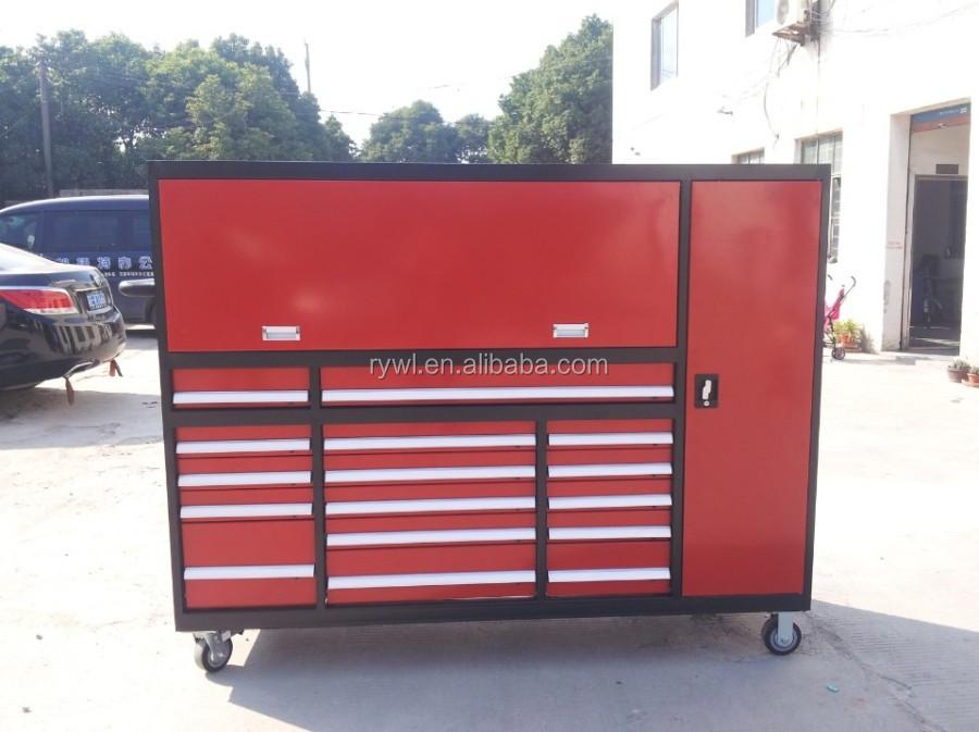 rojo cajones armarios con puertas de garaje de rodillos