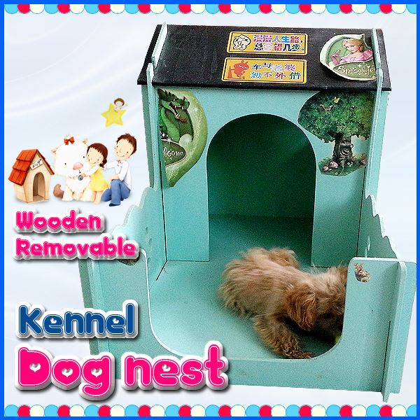 Wooden pet kennel with pillow