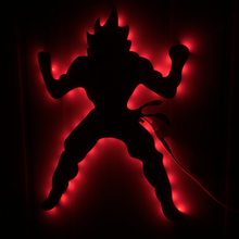 Dragon Ball Z Goku Mirror Night Light With LED Color Changing Remote Controller Modern Art Wall Light For Kid Room Decoration
