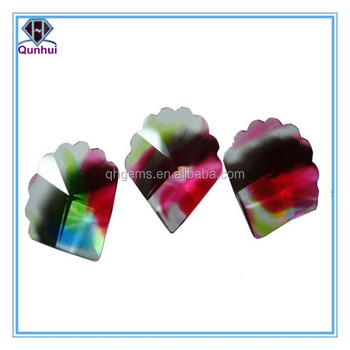 Colorful glass princess shaped cubic zirconia