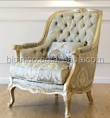 French Royal Golden Frame Solid Wood Living Room Sofa Set/ Elegant Victorian Design Fancy Fabric Sofa