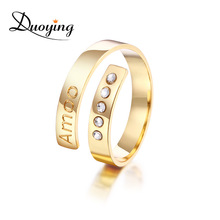 4 mm Bar Ring Zirconia Set Rings for Women Cuff Ring Initial Custom Name Rings Personalized Bling Gold Ring Jewelry