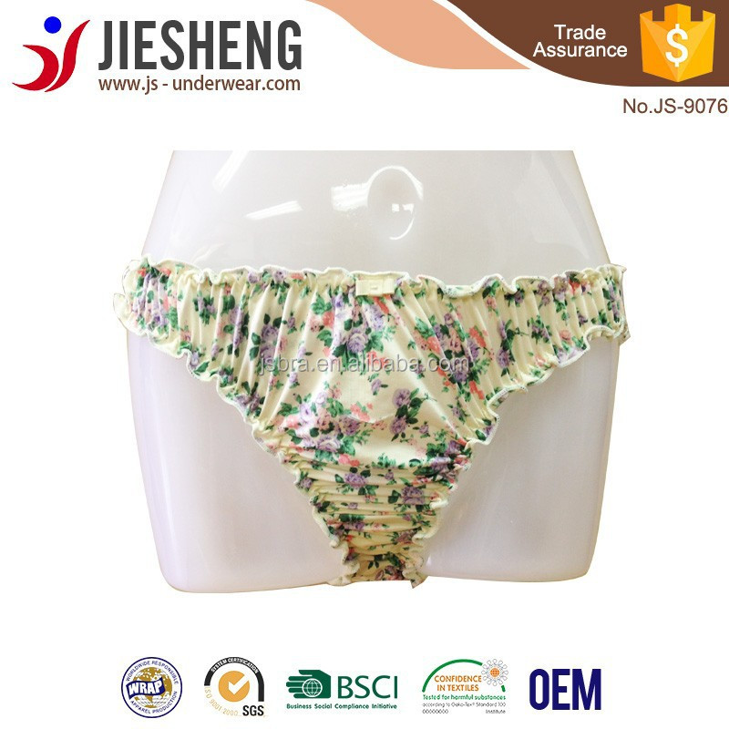 Floral printed sexy G-string, fashion design yong girl panties ,JS-9076Accept OEM