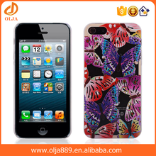 Water paste butterfly PC 3d sublimation phone case for iphone 5 cover