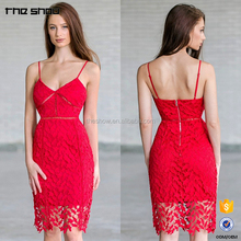 Factory OEM custom fashion lace dresses knee length in red color