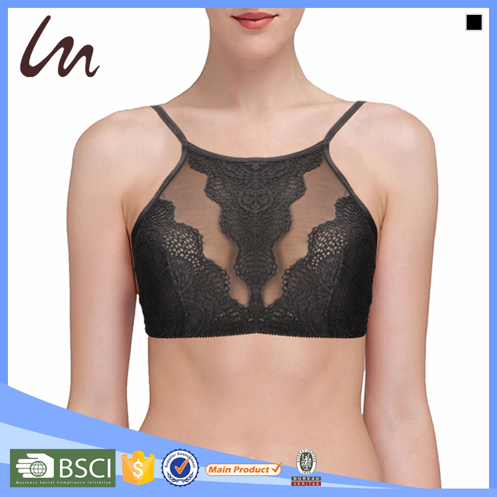 Ladies Hot Sexi Bra Wholesale Lace High-Neck Bralette Bra Company Names