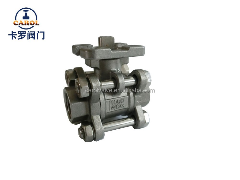3pc full bore 1000PSI stainless steel ball valve with ISO5211 direct mounting pad