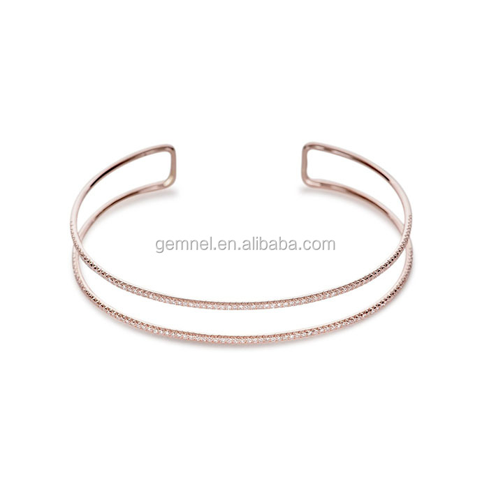 Diamond double bangle rose gold open cuff 925 italy silver bracelet