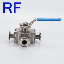 RF SS 304 or 316 Sanitary Stainless Steel Three Way Ball Valve 2 Inch