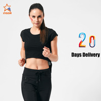 GAEANER midriff black no label manufacturing women sports yoga tops wholesale t-shirt