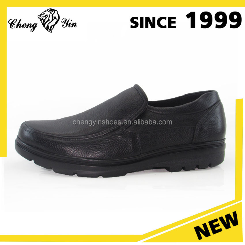 Environmental Good Quality Black Color Leather casual shoes men wholesaler