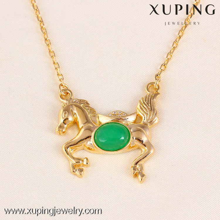 41508-Xuping Alloy jewelry jade horse pendant necklace design