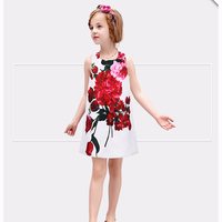 New Arrival Europe Style Digital Printed Floral Dress Frock Design For Girl