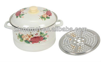 26cm new style enamel induction steamer pot