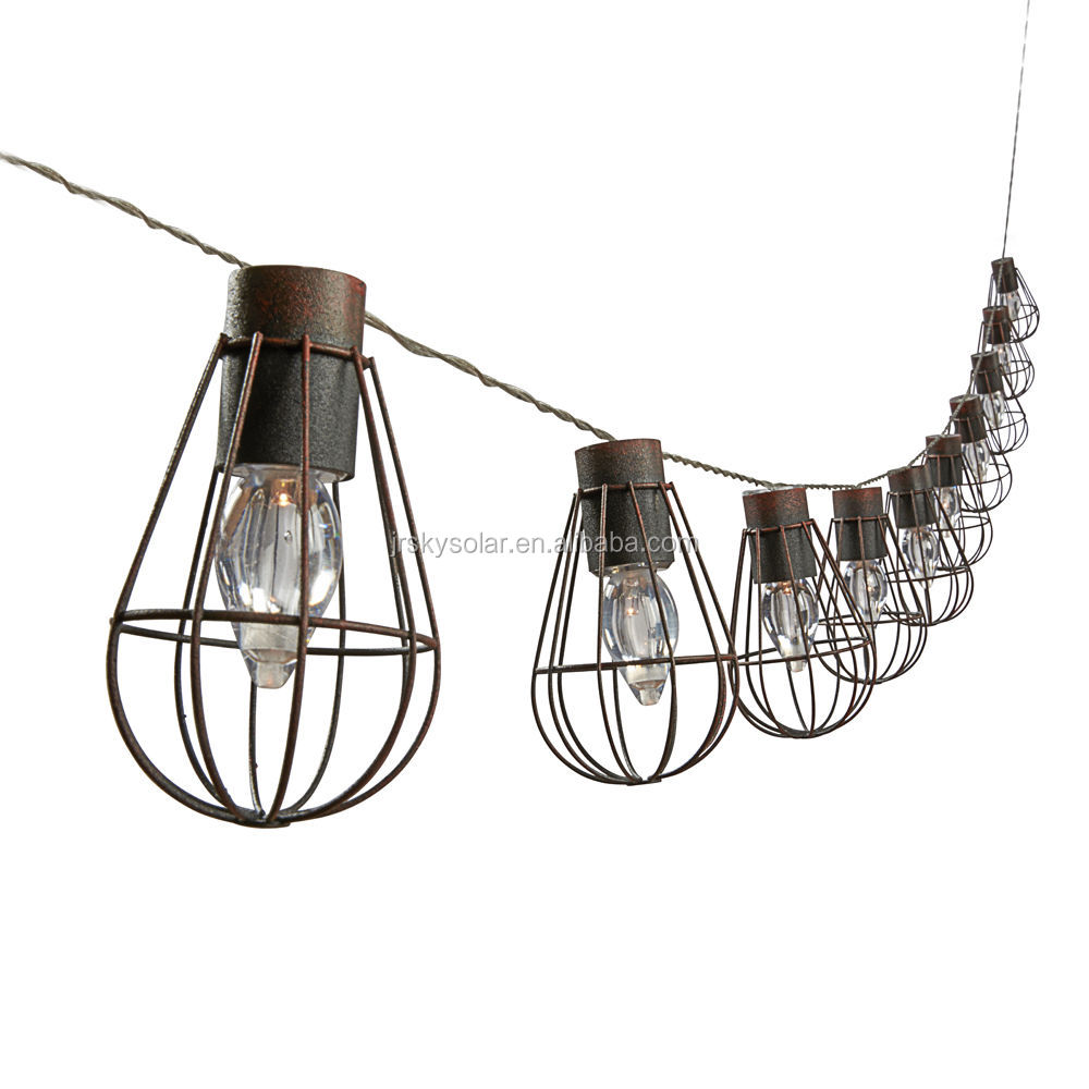 Solar Vintage Rechargable 10 LED Rustic Cage String Lights for outdoor, garden, patio decoration