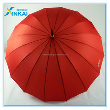 Red pongee fabric 16 black-plated ribs advertising straight umbrella